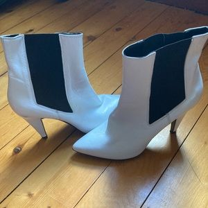 Topshop white leather ankle boots
